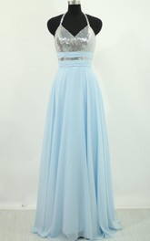 Halter Chiffon Dress With Sequins And Open Back