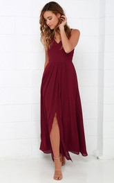 Simple Sleeveless V-Neck A-Line Chiffon Long Dress With Front Split