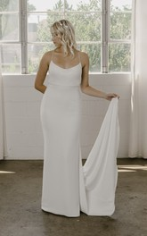 Spaghetti Straps Simple Sheath Wedding Dress In Court Train With Open Back And Straps