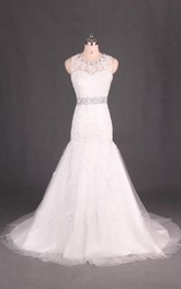 Jewel Low-V Back Mermaid Tulle Wedding Dress With Crystal Detailing And Appliques
