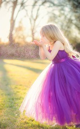 Lovely Sleeveless Purple Tulle Princess Flower Girl Dress Princess