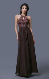 Sleeveless A-Line Chiffon Dress With Keyhole Back and Lace Bodice