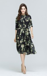 Flower Print A-Line Half Sleeve Shirt Dress