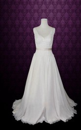 V Neck Neck Sleeveless Sleeveless Sleeveless Low V Back Back Floor Length Chiffon Wedding Dress With Sash Ribbon