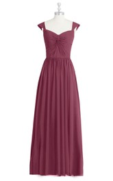 Cap Sleeve A-Line Chiffon Dress With Pleated Skirt and Ruched Bodice