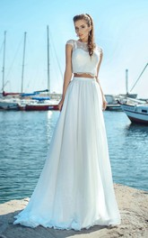 Two-piece Jewel Neck Cap-sleeve Floor Length Pleated Wedding Dress