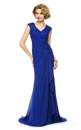 Elegant Chiffon and Lace Sheath V-Neck Dress with Keyhole Back