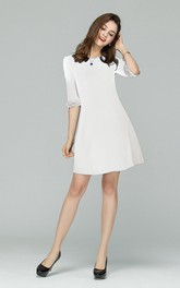 White Half Sleeve Mini Dress