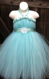 Halter Neck Tulle&Satin Dress With Sash Ribbon
