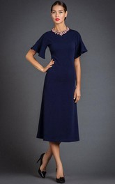 Simple Bell Sleeve A-line Tea-length Dress