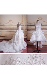 Ball Gown Chapel Train Tulle Lace Organza Satin Dress With Beading Appliques