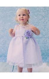 Sleeveless Jewel Neck Organza Polka-Dot Baby Dress With Flower Belt
