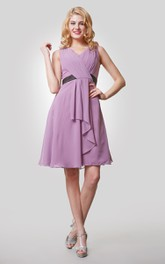 V-Neck Sleeveless Knee Length Chiffon Dress With Pleats and Draping