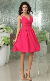 Shining V-Neck Deep Chiffon Pleated Dress With Beaded Strap