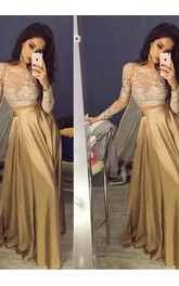Long Sleeves Scoop Satin Applique Floor Length Two Piece Dress