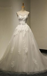 Scoop Neck A-line Tulle Wedding Dress With Beading And Appliques