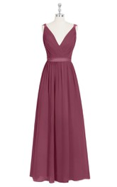 Ruched Sleeveless A-Line Chiffon Dress With V-Neck and Satin Waistband