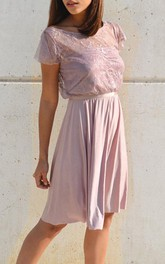Knee-length Chiffon&Lace Dress