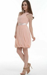 A-line Knee-length Chiffon Dress With Ruffles