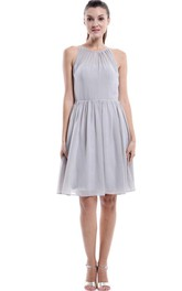 Grey Short Halter Chiffon Bridesmaid Dress
