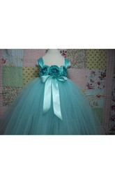 Aqua Blue Sleeveless Flower Bust Empire Waist Tulle Tutu Dress With Satin Sash and Straps