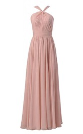 Elegant Halter Pleated A-line Gown With Ruched Band