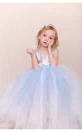 Sleeveless V-neck Satin Bodice Pleated Tulle Flower Girl Dress With Bow Sash