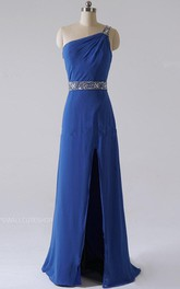 Sheath Floor-length One-shoulder Dress With Sequins