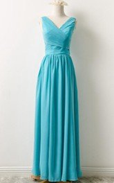 Floor-length V-neck Chiffon Dress