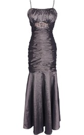 Sleeveless Mermaid Gown With Ruching and Square Neck