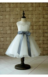 Ivory Lace Tulle Flower Girl Dress With Gray Sash and Bow