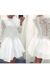 A-line High Neck 3 4 Length Sleeve Ruching Ruffles Short Mini Chiffon Lace Homecoming Dress
