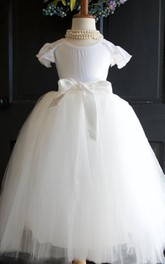 Ruffled Jewel Neck Tulle Dress With Flower&Sash Ribbon
