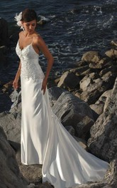 Sheath Column Spaghetti Straps Satin Wedding Dress