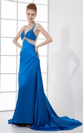 Glossy Sleeveless Maxi Dress with Beading and Illusion