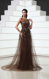 Tulle Cap-Sleeved A-Line Backless Gown With Sequins And Embroidery