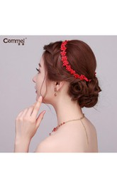 Bride Red Lace Hair With Wreath Hairband Soft Hair Trim Necklace Earrings Wedding Accessories
