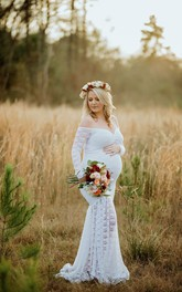 Mermaid Off-the-shoulder Illusion Long Sleeve Lace Maternity Wedding Dress