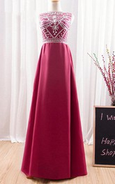 2018 Long Dark Red Prom Fashion Crystal Formal Round Neck Floor Length Bridesmaid Transparent Backless Evening Dress