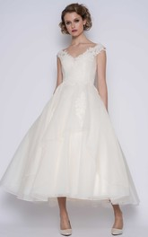 Elegant Organza Ball Gown Ankle Length Wedding Dress with Illusion Back