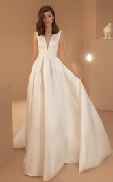 Simple Satin V-neck Ball Gown Sleeveless Wedding Dress with Pockets and Zipper
