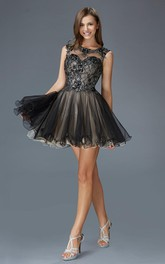 A-Line Short Bateau Sleeveless Tulle Keyhole Dress With Lace And Appliques