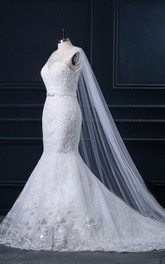 Trumpet Sweetheart Cap Sleeve Tulle Lace Satin Dress With Beading