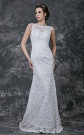 Elegant Cap-sleeve High Neck Sheath Long Lace Dress