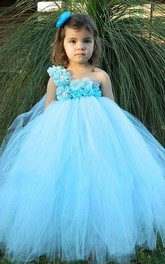 One Shoulder Pleated Tulle Dress With Beading Flower and Ruffles