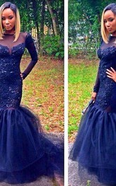 Sparkly Navy Blue Long Sleeve 2018 Prom Dresses Mermaid Appliques