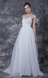 Spaghetti Strap Low V Neck Long Tulle Dress With Sash and Lace Detailing