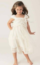 Ruffled Short Sleeve Tulle lace Dress With Flower