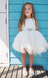 Liv Ivory Bridal Party Baptism Exclusive Party Dress With Bow and Feathers Party Dress
