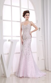 Fairy Sleeveless Sheath Dress With Beading and Spaghetti Straps